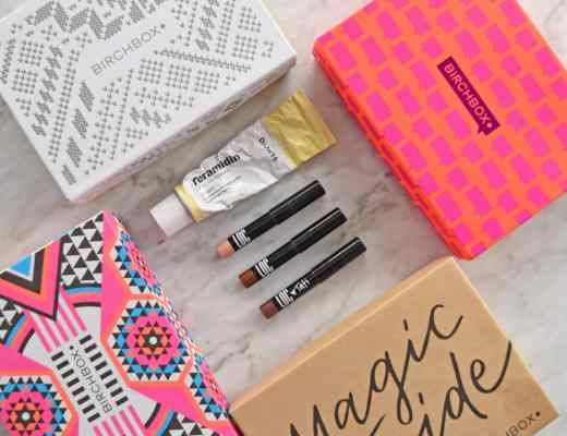 Picture and reviews of BirchBox Monthly Beauty Subscription box, including products from Dr. Jart, Love of Color, Amika, Bumble & Bumble, Benefit and More