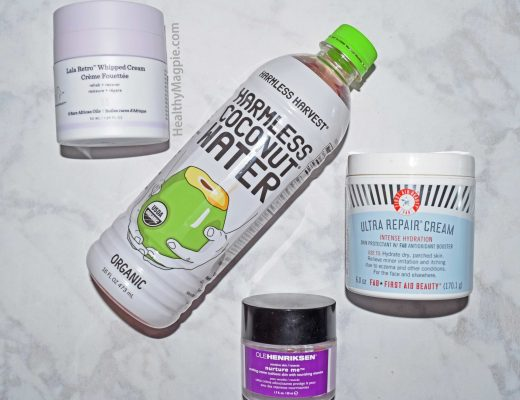 Picture major hydrators: Drunk Elephant Lala Retro Whipped Cream non-toxic face moisturizer, coconut water, first aid beauty ultra repair cream and ole henriksen nurture me moisturizer.