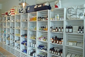 Picture of prganic, natural and green beauty skin care wall at SeaMakers & Co in La Jolla, California. SeaMakers carries Meow Meow Tweet, Herbivore, French Girl, Indie Lee, Soapwalla, Kypris, Vapour, Coola and More