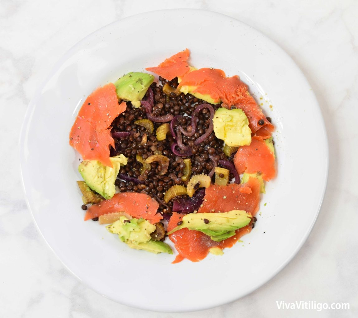 Picture of my current low-glycemic breakfast: organic lentils and avocado with wild caught smoked salmon.