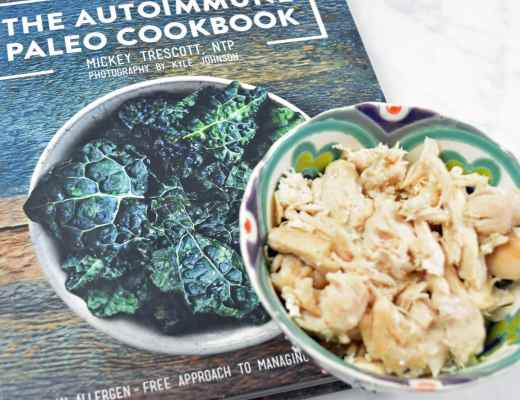 Picture of shredded chicken from Mickey Trescott's The Autoimmune Paleo Cookbook and My review. I have hasimoto's and vitiligo, both are autoimmune diseases