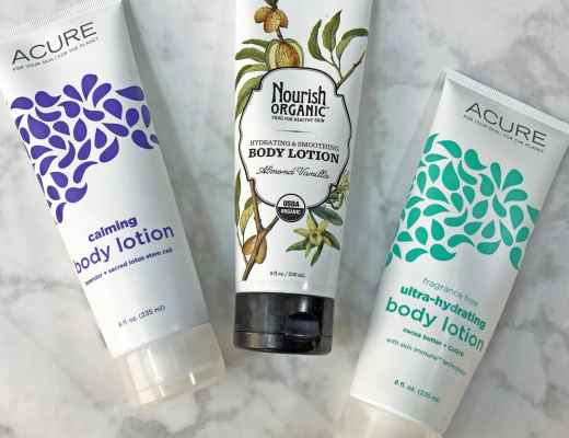 3 Organic Body Lotion Reviews: Acure Organics Calming Lavender Scented Body Lotion, Nourish Organic Almond Vanilla Body Lotion and Acure Organics Fragrance Free Ultra-Hydrating Body Lotion Pictures Swatches