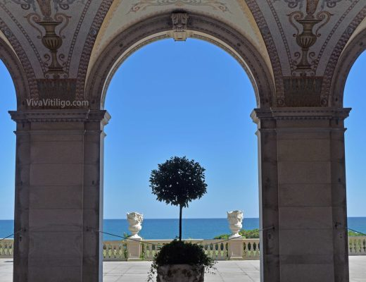 Picture of the view of the Atlantic Ocean and Cliff Walk from the historic The Breakers mansion in Newport Rhode Island. built by the Vanderbilt Family.