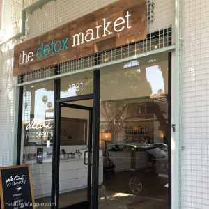 Picture of storefront of the Detox Market clean and organic beauty, makeup and skin care store in Santa Monica, California on Montana Ave.