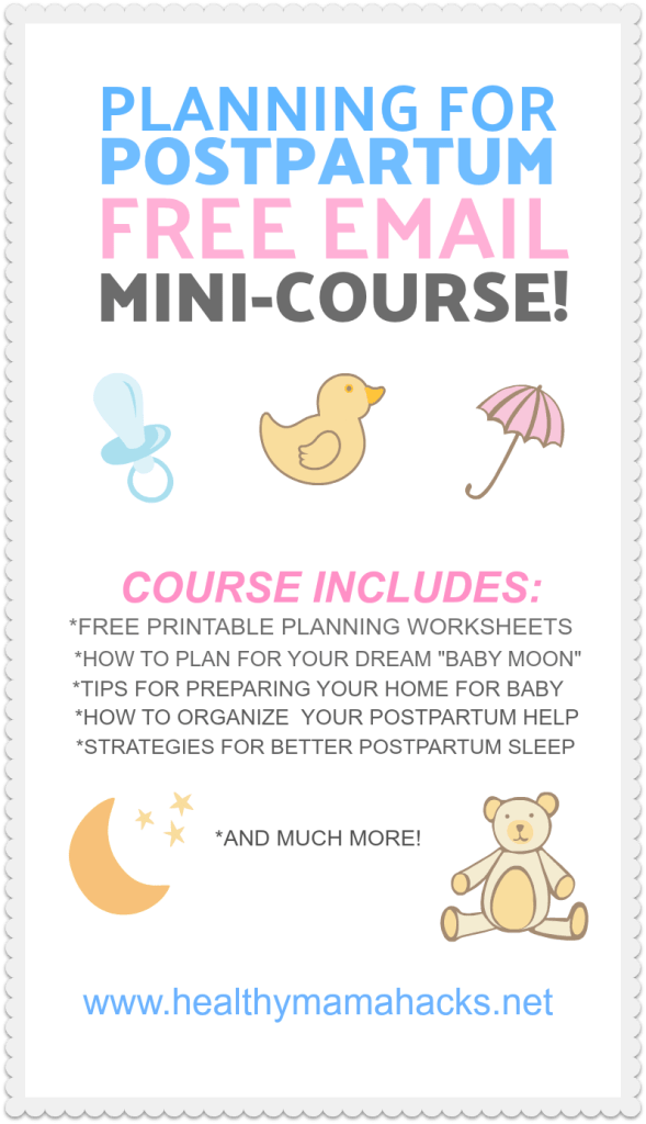 "Are you pregnant? Don't forget to plan for your postpartum recovery! This FREE email course written by a professional postpartum doula shows you how! Get this free 5-day email course to help you plan for a smoother postpartum recovery. The course includes tips and strategies for planning your ""baby moon"", getting your home ready, writing your postpartum plan, what to include in your pre-baby shopping list, how to get sleep with a newborn and much more! #postpartum, #newborn, #pregnancy, #FREE"