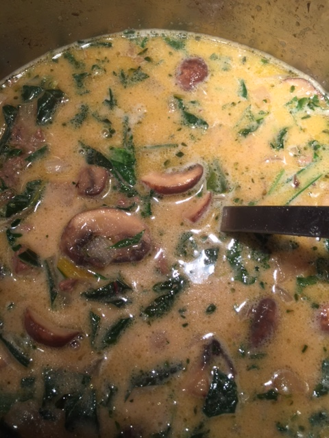 Creamy Mushroom and Groud Beef Soup with Greens