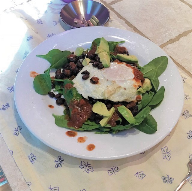 black beans and eggs