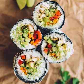 Simple Chicken Sushi Burrito | Healthy Nibbles