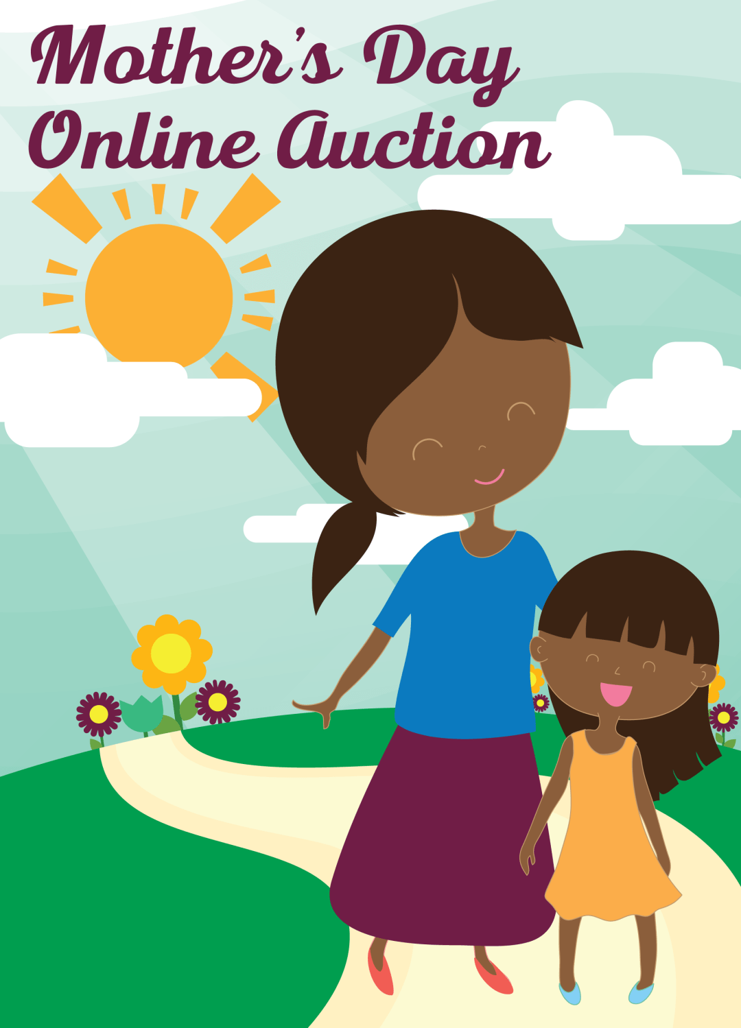 Cartoon picture of African American woman and her daughter on a path with flowers and sunshine behind them