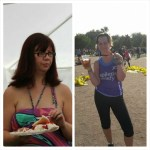 Jo before her weight loss and after running the Berlin Marathon, with a well-earned alcohol-free beer!
