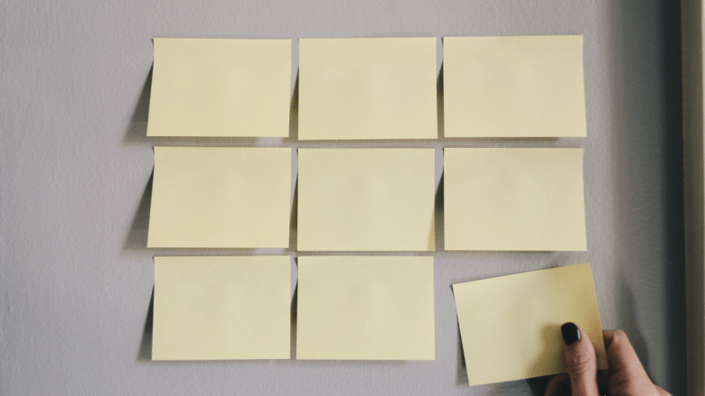 Several post it notes on a wall.