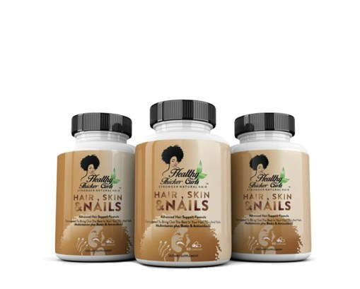 HEALTHY THICKER CURLS Hair, Skin & Nails Vitamins – 3 Month Supply