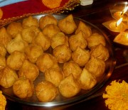 fried modak with coconut jaggery stuffing