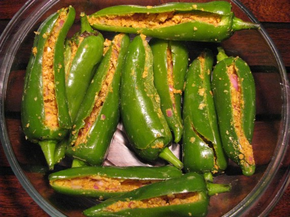 Stuffed green chilies (bhavnagri mirch)