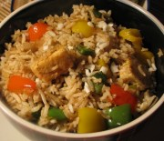 fried brown rice with vegetables and paneer