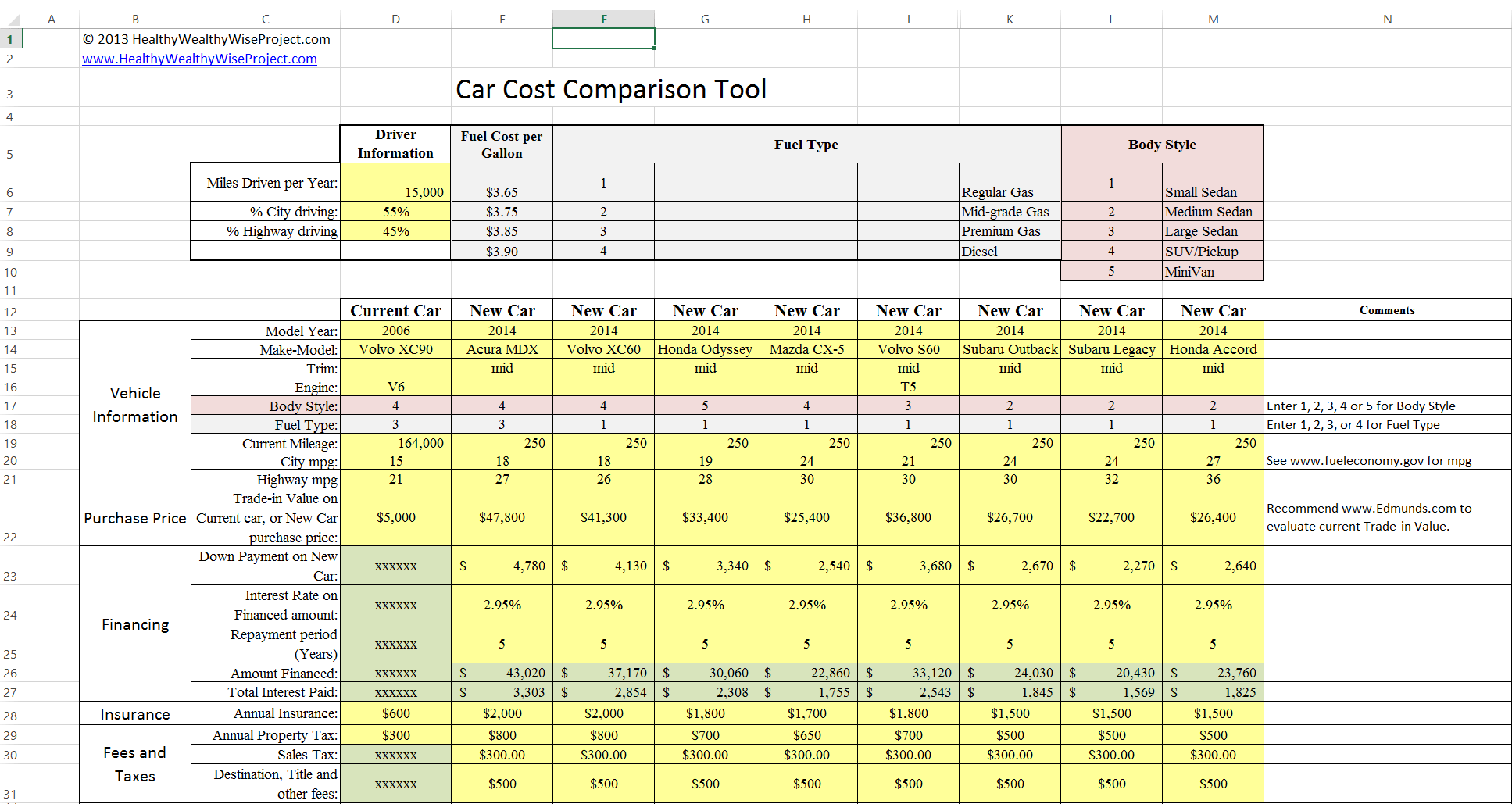 Car Cost Comparison Tool For Excel