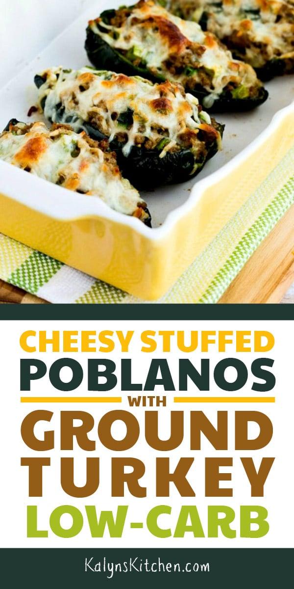 Pinterest image of Cheesy Stuffed Poblanos with Ground Turkey