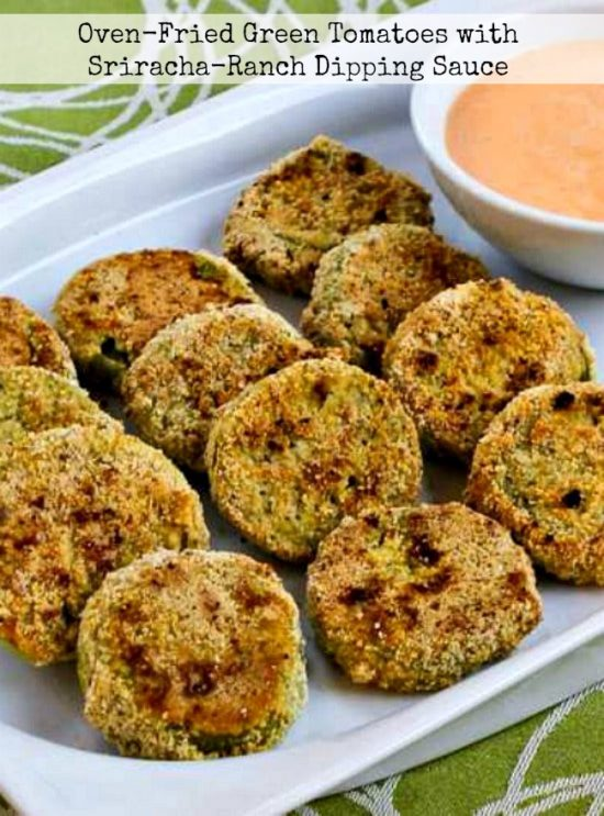 Oven-Fried Green Tomatoes with Sriracha-Ranch Dipping Sauce! title photo