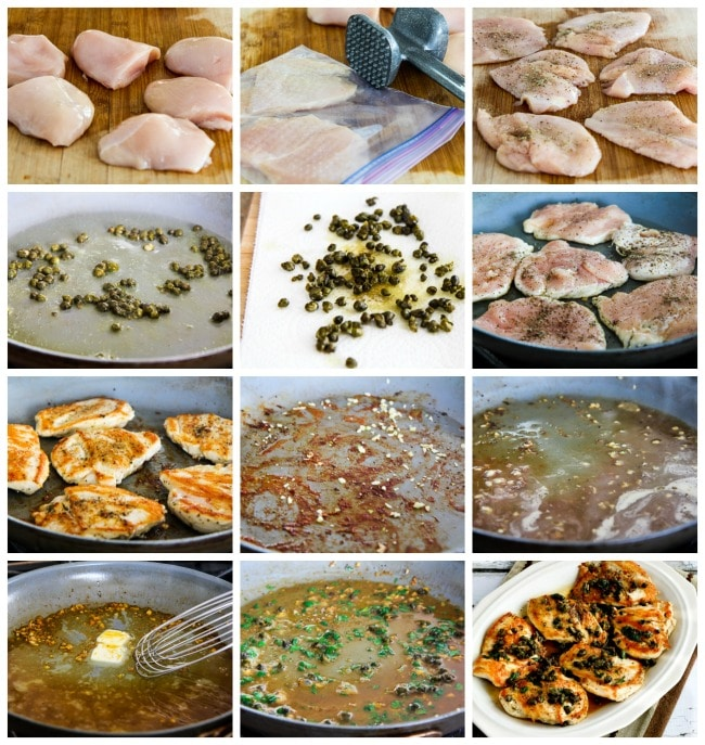 Chicken Piccata with Fried Capers process shots collage