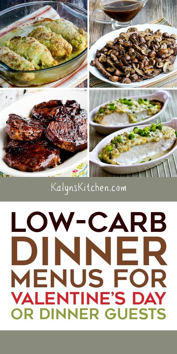 Pinterest image of Low-Carb Dinner Menus for Valentine's Day or Dinner Guests