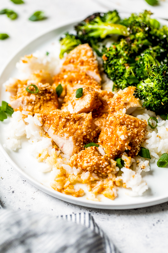 If you like the taste of sesame seeds as much as I do, you'll love these Sesame Encrusted Chicken Tenders coated with sesame seeds, panko and a hint of soy sauce. Bake them or make them in the air fryer!