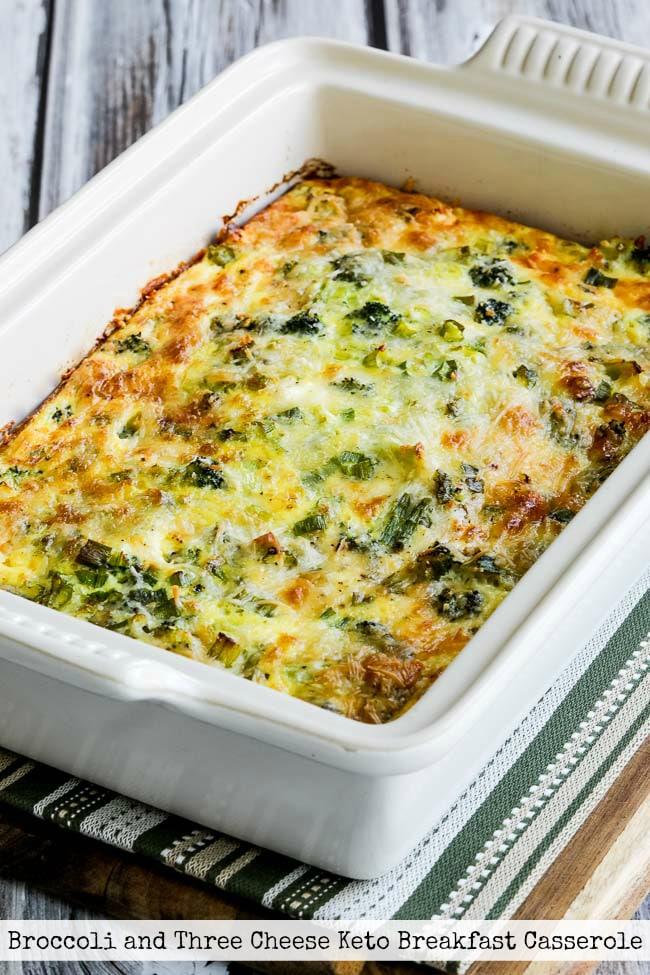 Top Photo for Broccoli and Three Cheese Keto Breakfast Casserole
