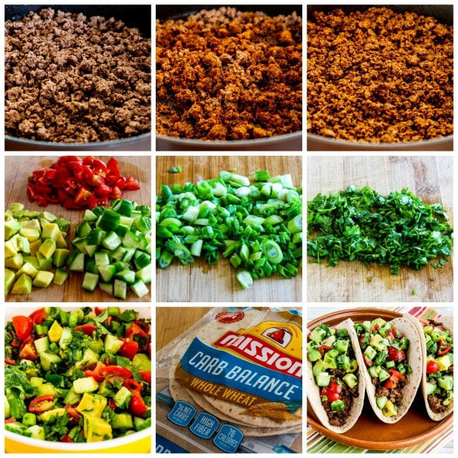 Ground Beef Tacos with Tomato-Avocado Salsa process shots collage