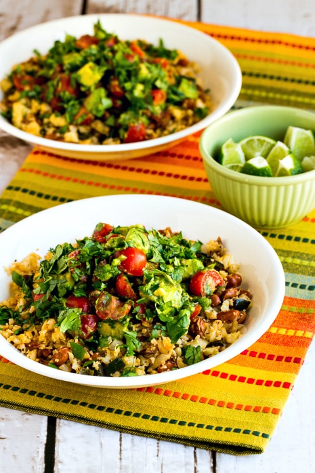 Cauliflower Rice and Pinto Bean Burrito Bowl close-up photo of two finished bowls