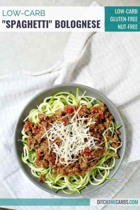 Beautifully plated low-carb bolognese over zoodles.