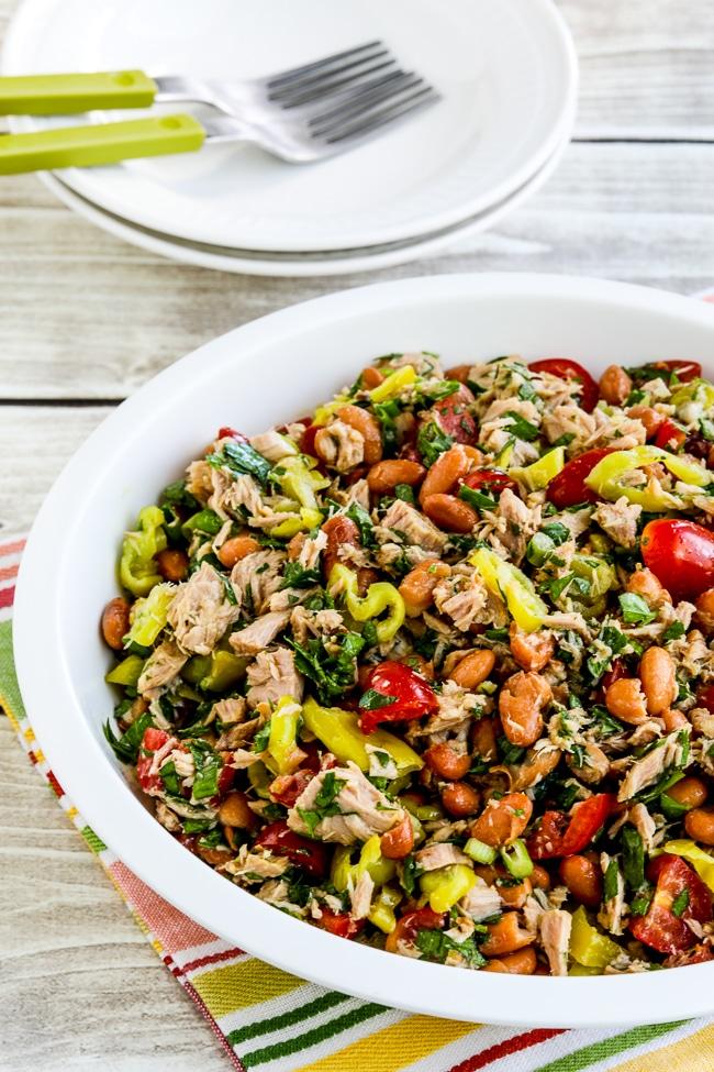 Pinto Bean Salad with Tuna, Tomatoes, and Peperoncini close-up photo