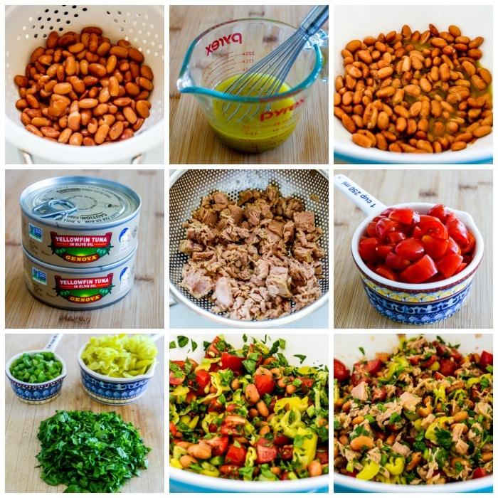 Pinto Bean Salad with Tuna, Tomatoes, and Peperoncini process shots collage