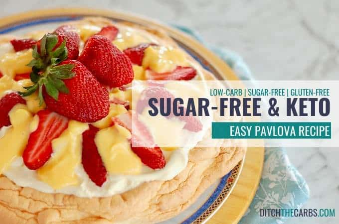 Keto Sugar-Free Pavlova, perfect for barbecues. 1.9g net