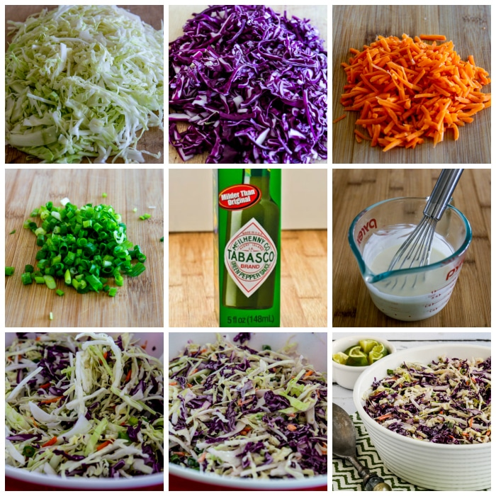Spicy Lime Coleslaw process shots collage
