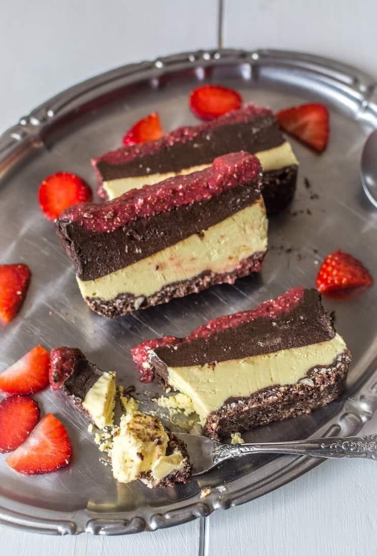 Chocolate & Strawberry Layered No Bake Cake Gluten Free