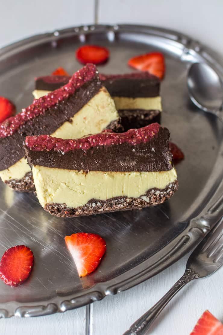 Chocolate & Strawberry Layered No Bake Cake Paleo