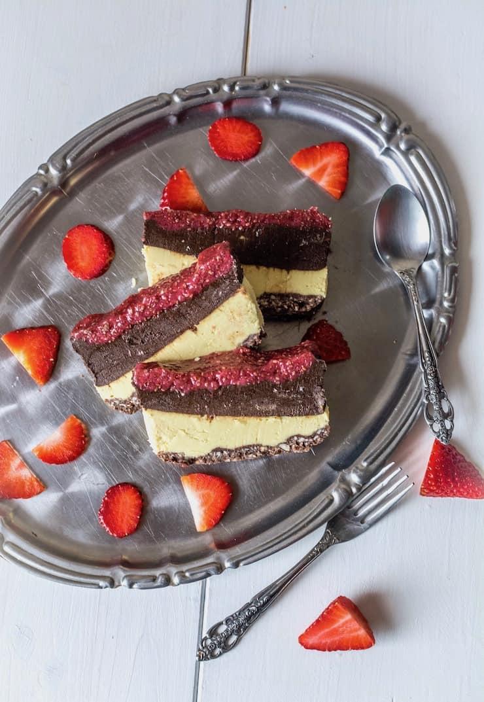 Chocolate & Strawberry Layered No Bake Cake