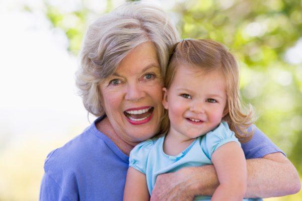 happy grandma and grandaughter
