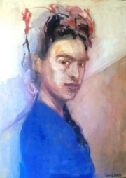 "Jerry Ross ""Frida Mexican Revolutionary"" digital print on canvas, 18""x20"" 2016"
