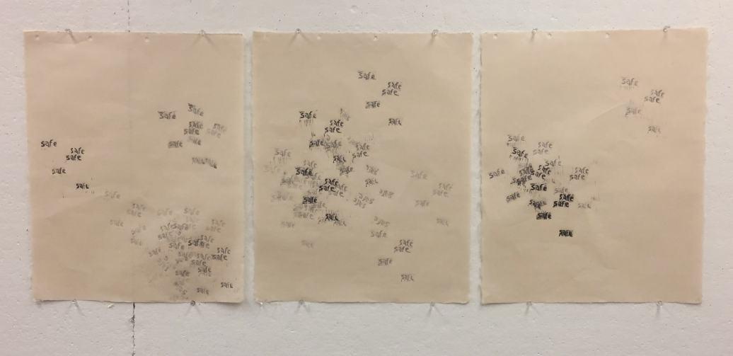 "Marisa Mijares Smith ""safesafesafesafesafe"" 2016 woodblock print on paper"