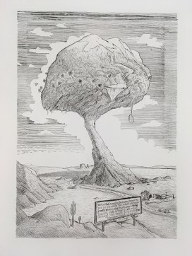 """Sandow Birk """"Proposal for a Monumental Garden to Supply Side Economics"""" drypoint, a state proof"""
