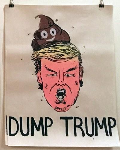 "Wendy Liu ""Dump Trump"" screenprint on newsprint"
