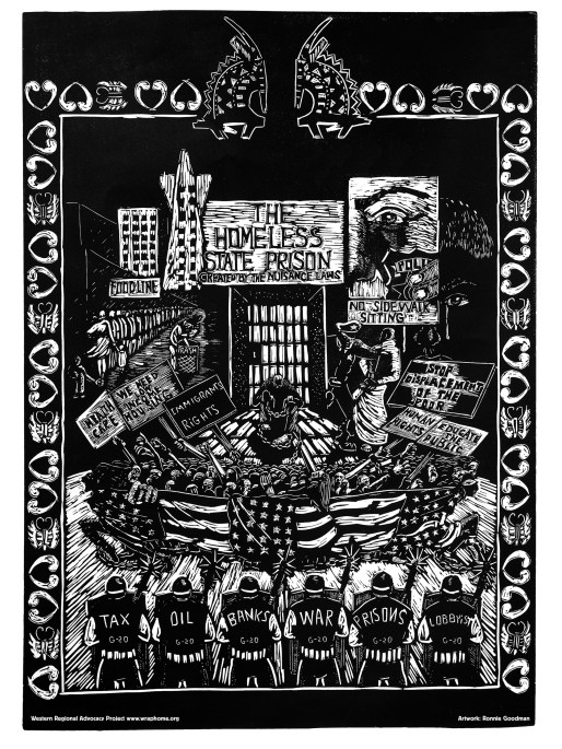"""Western Regional Advocacy Project """"Homeless State Prison"""" offset print 2009"""