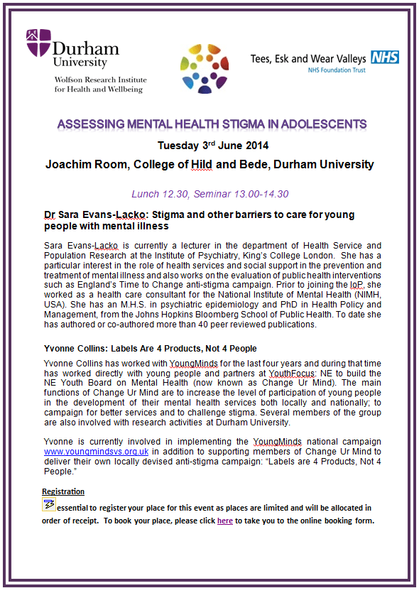 Public Lecture Assessing Mental Health Stigma In Adolescents