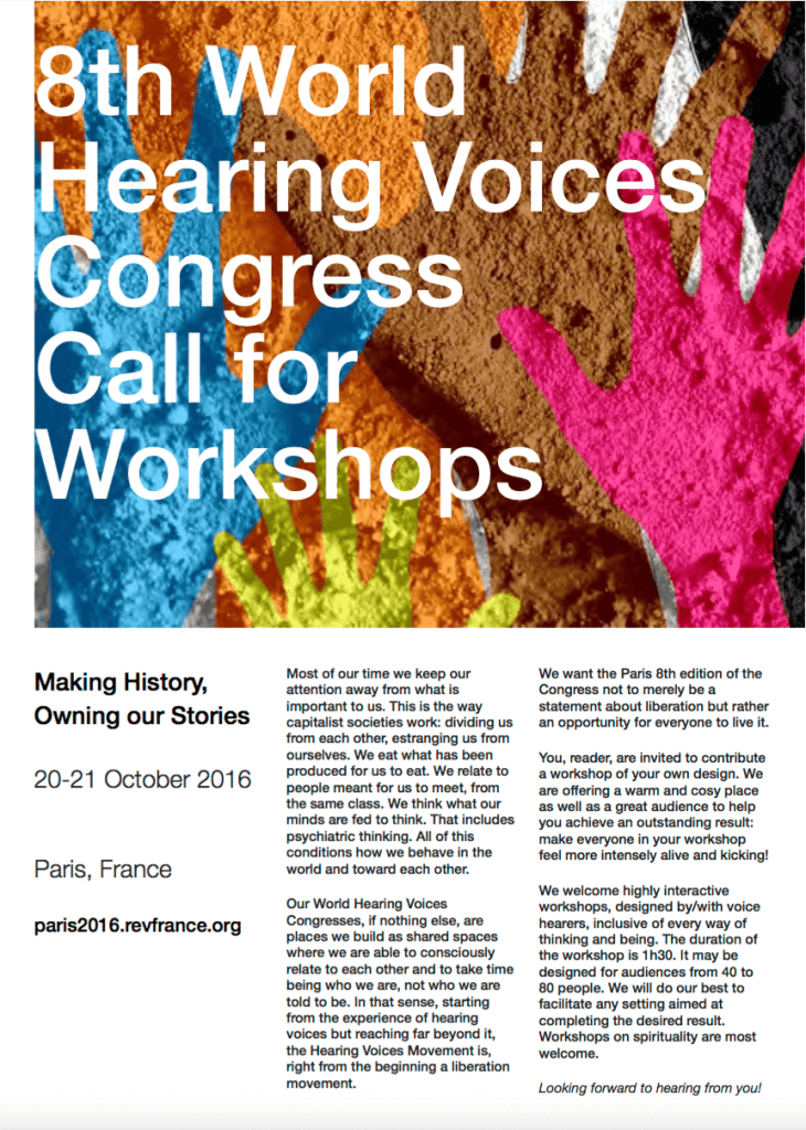 World Hearing Voices Congress 2016 - Call for Workshops