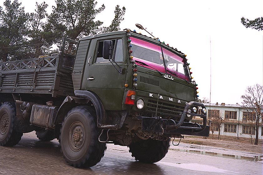Large military truck on the streets of Sherbigan