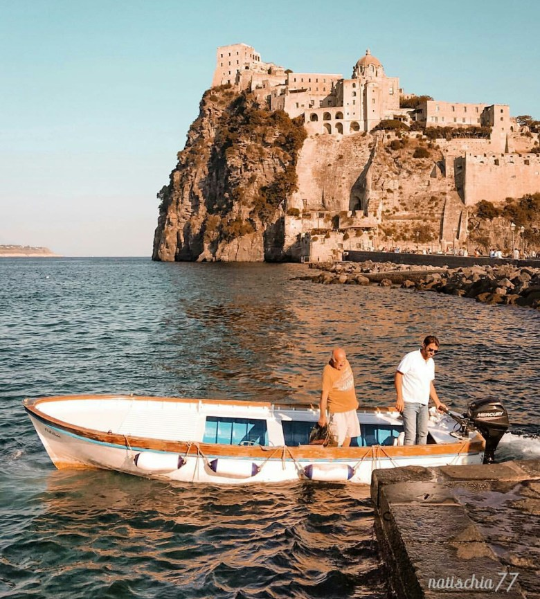Aragonese Castle connected to Ischia with the stone bridge
