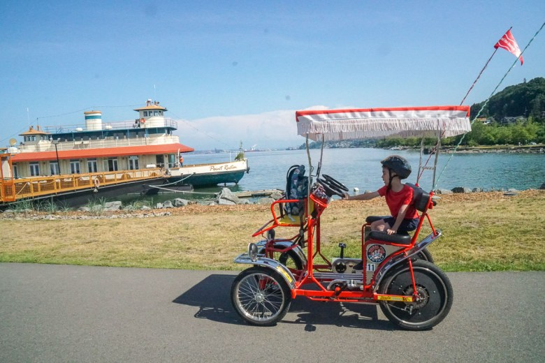 Riding a surrey bike is a fun thing to do with kids in Tacoma WA this summer