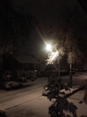 De witte wereld in de nacht, in schijnsel van lantaarnpaal