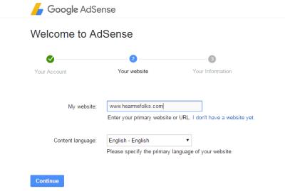 adsense account website details