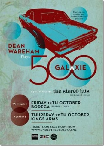 Poster for the 2011 Galaxie 500 tour of NZ